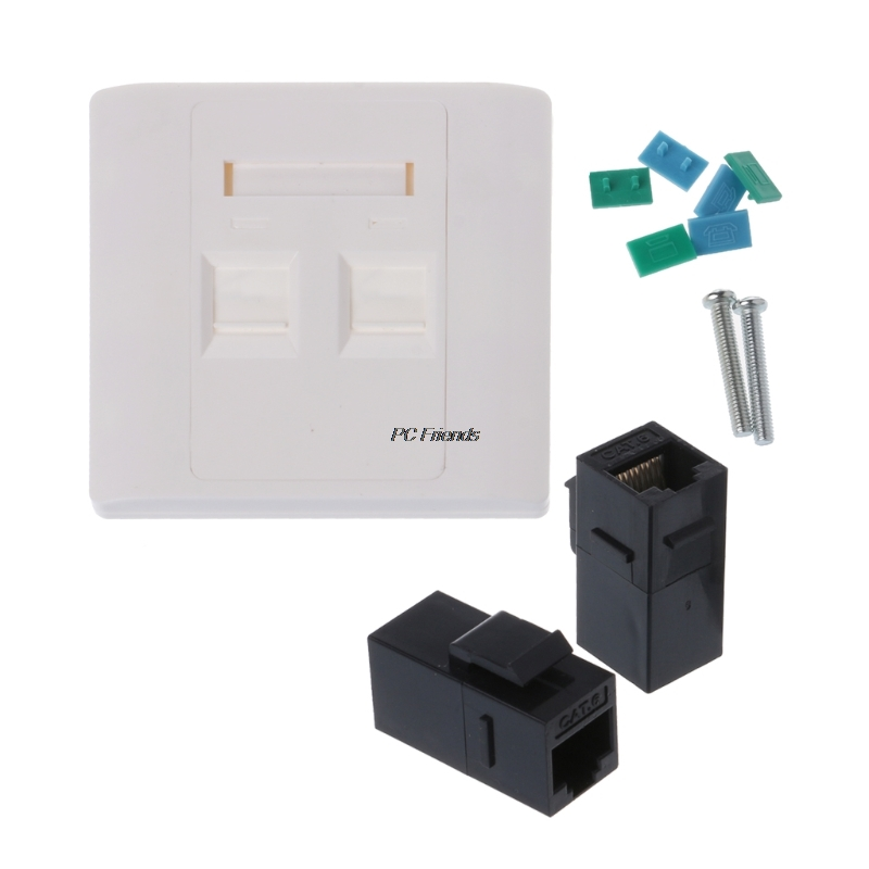2 Ports RJ45 Network Wall Plate With Female To Female Connector CAT5e / CAT6