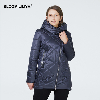 BLOOM LILIYA 2020 Women Jacket Thin Cotton Padded Coat Spring Women Jackets Hooded Fashion Puffer Jacket Zipper Windproof Coats fashion skulls ghost devil jackets men women couple funny joker windbreaker windproof thin pocket hooded jacket