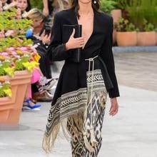 Autumn Long Blazer Feminino Asymmetric Embroidery Tassels Suit