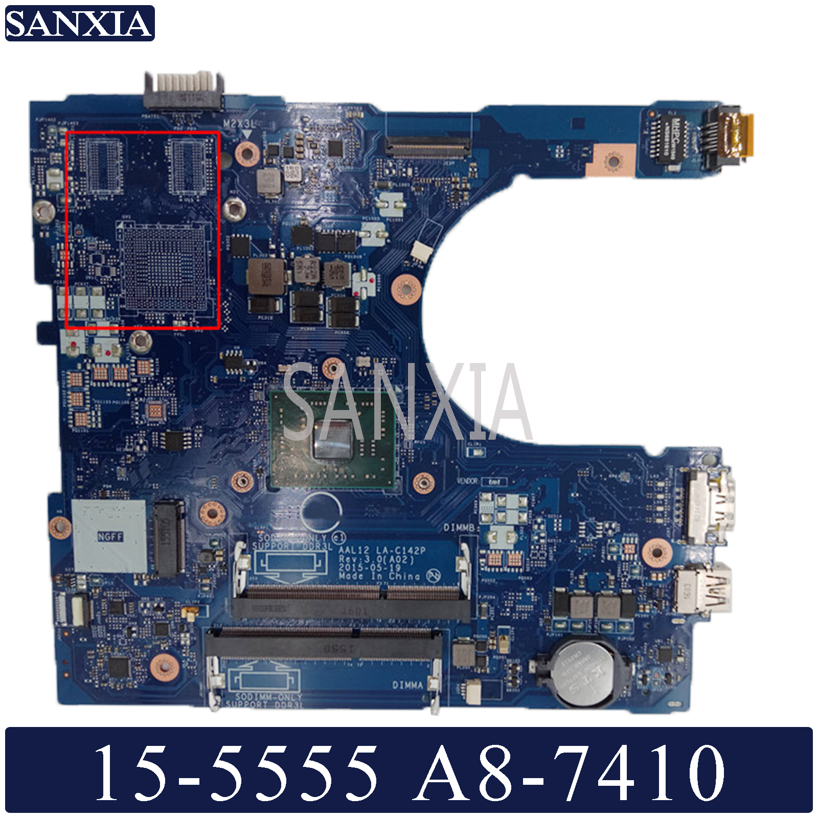 KEFU LA-C142P Laptop Motherboard For Dell Inspiron 15-5555 14-5455 Original Mainboard A8-7410