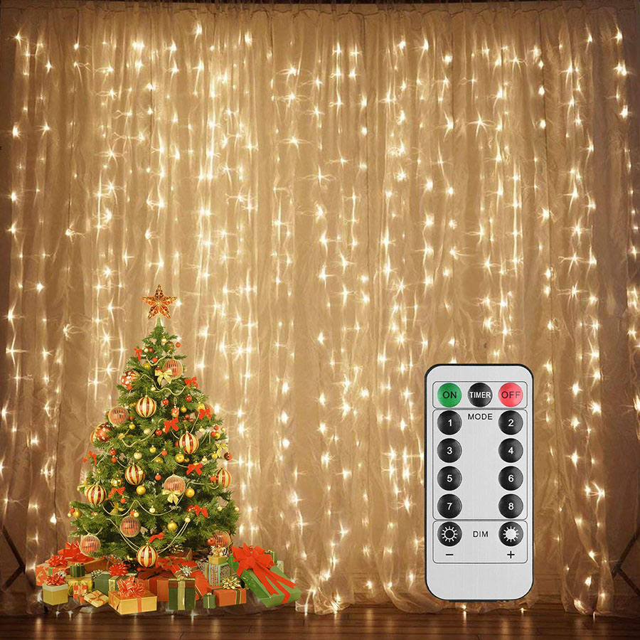 Battery powered 3X3M 300 LED curtain Icicle String Lights Copper wire Holiday lighting For Christmas Wedding Party Decoration