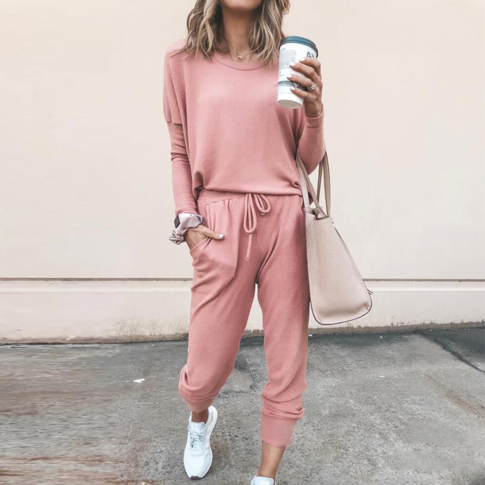 Women Tracksuit Clothes Set Outfit Autumn Long Sleeve Pink Female Clothing Sweatshirt Pants Two-Piece Clothing Set For Lady D30