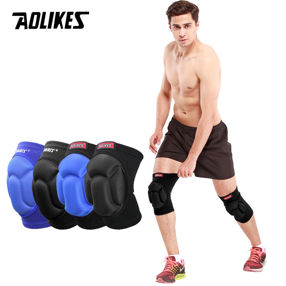 AOLIKES 1Pair Thicked Football Volleyball Extreme Sports Ski Knee Pads Fitness Knee Support Cycling Knee Protector Kneepad