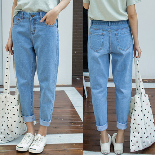 Good Quality Loose-Fit High-waisted Slimming BF Style Loose Pants Straight-Cut Capri Harem Jeans Women's