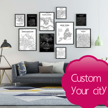 Custom Modern Black and White World City Map London Paris New York Posters Rome Prints Wall Art Canvas Painting