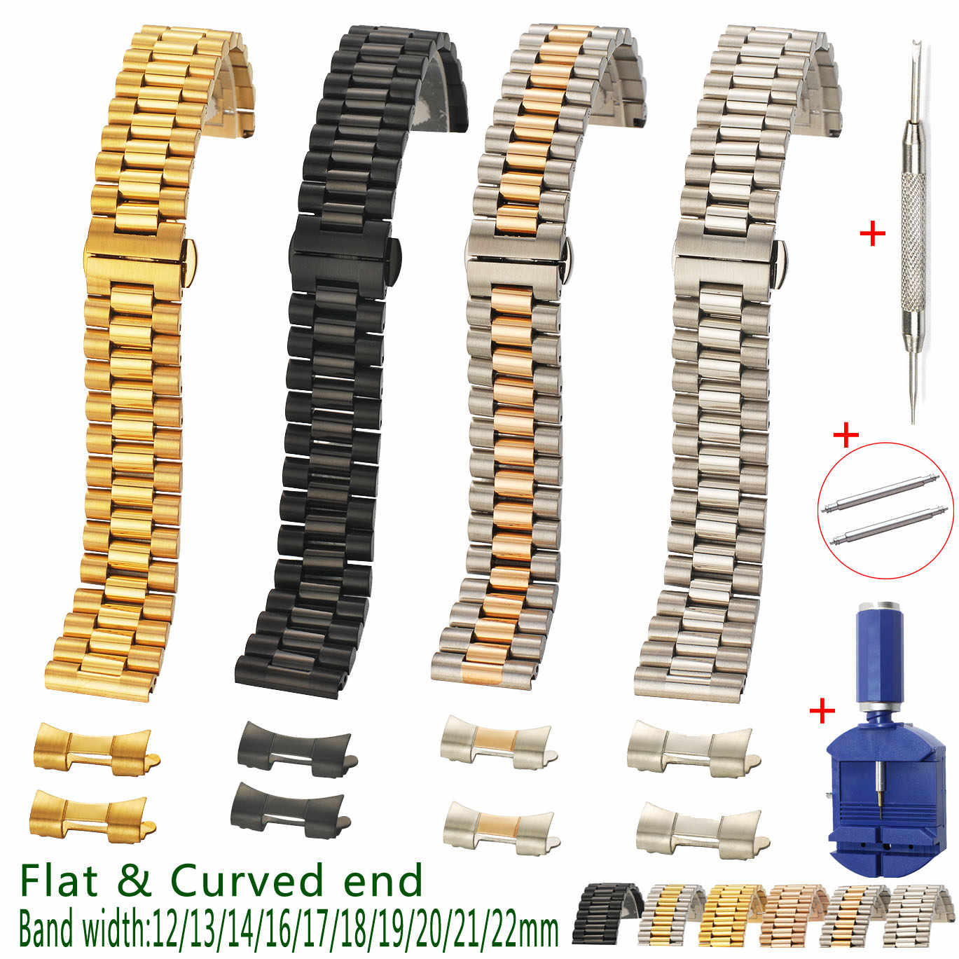 Lingkaran Link Solid Stainless Steel Watch Band 12 13 14 16 17 18 19 20 21 22 Mm Pengganti tali 3 Baris Gratis Ujung Melengkung