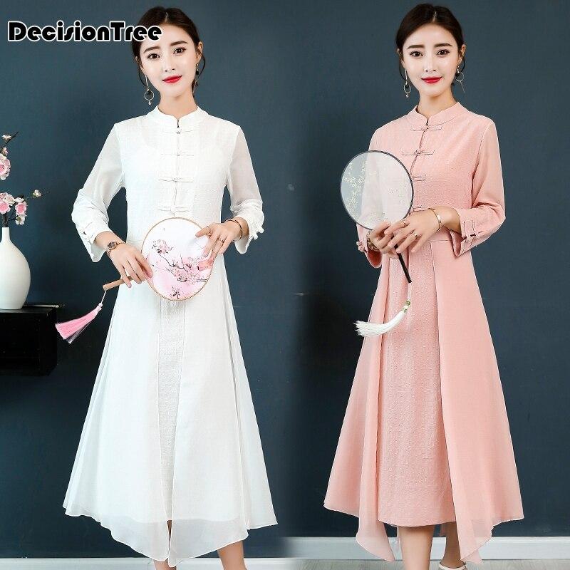 2019 Vintage Casual Retro Cheongsam Ao Dai Dress Mandarin Collar Elegant Lady Print Floral Qipao Modern Chinese Style Vietnam