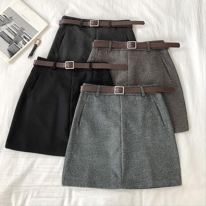 Women Sashes Chic Skirt Autumn Winter Harajuku Solid High Waist Casual A-line Skirt Females Fashion Pocket Belt Mini Skirts