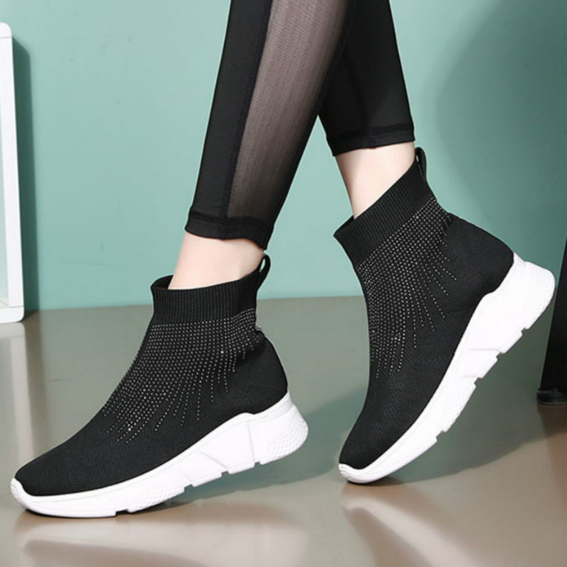 New Fashion Sneakers High-top Elastic Flying Woven Breathable Socks Shoes Ladies Dancing Shoes Sports Knit White Shoes ZZ-303