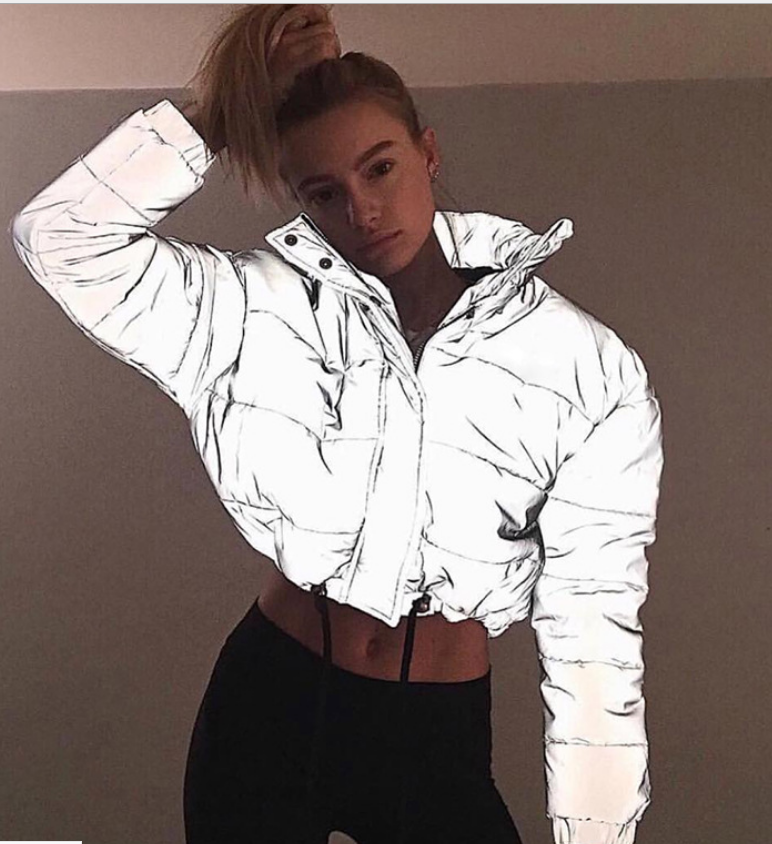Winter New Reflective Short Coat Thickening Luminous Coat Jacket Night Reflective Sports Women's Solid Color Casual Street Wear