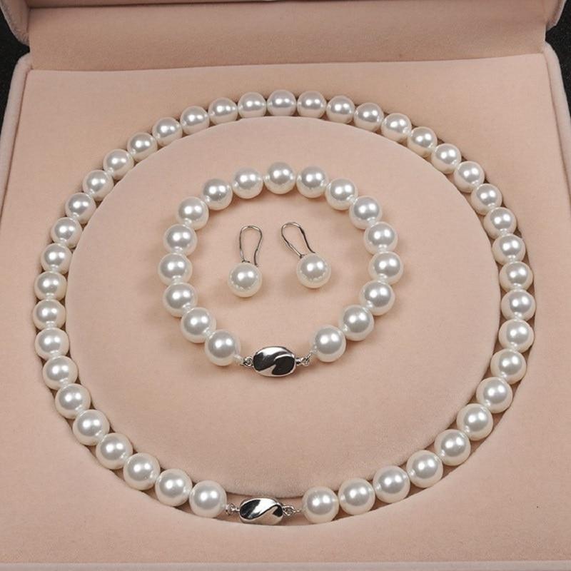 Ensemble trois pièces de perles de coquillage naturelles blanches, 10mm, collier, Bracelet, boucles d'oreilles, ensemble cadeau