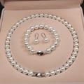 Оболочки жемчужина подарочный набор 10 мм белый натуральный жемчуг оболочки жемчужное ожерелье, браслет, серьги, комплект из трех предметов,...