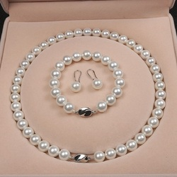 Shell Pearl Gift Set 10mm White Natural Shell Pearl Necklace Bracelet Earrings Three-piece Set