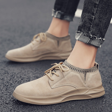 Men Casual Shoes 2019 Fashion Sand Black Gray Genuine Leather Men Sneakers Moccasins Lace-up Flats Loafers Male Shoes Size 39-45