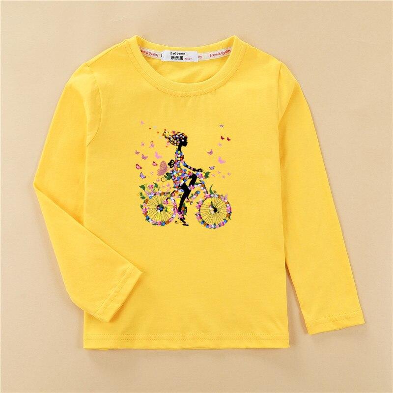 Kids funny fruit bike 3D t shirt baby girl long sleeve print cotton top tees children lemon pattern clothes boy autumn shirt 5