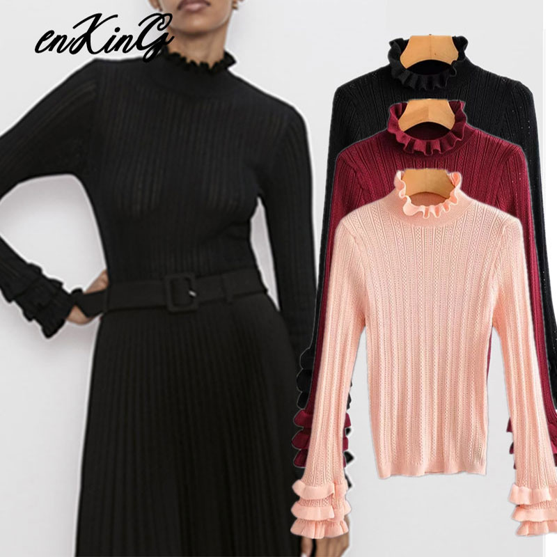 2019 Winter Sweaters Women Pull Femme England Vintage Geometric Jacquard Cascading Turtleneck Sweaters Women Pullovers Tops
