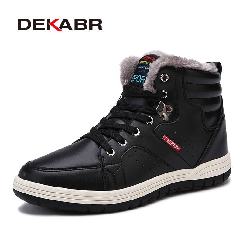 DEKABR Super Warm Winter Men Boots High Quality Autumn Snow Boots Men Waterproof Soft Pu Leather Footwear Shoes Men Ankle Boots