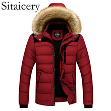 Sitaicery New Men Winter Padded Coat Down Jacket M-6XL Zipper Hooded Outerwear Windproof White Duck Clothing