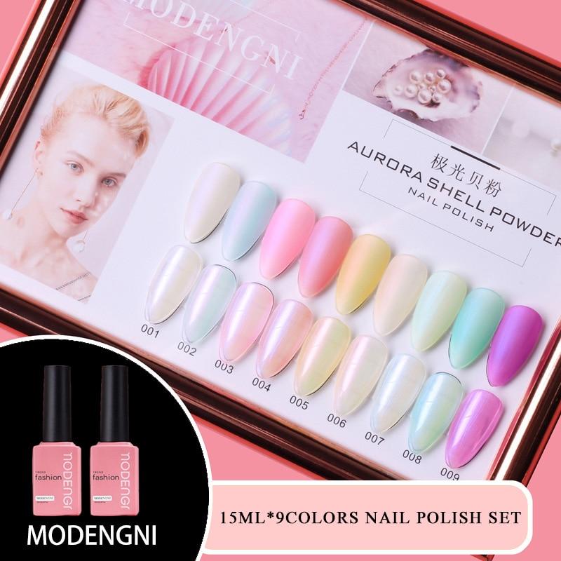 MODENGNI 15ml 9pcs Shell Pink Color Gel Nail Polish Long Lasting Soak Off Base Coat No Wipe UV LED Gel Varnish For Nail Salon