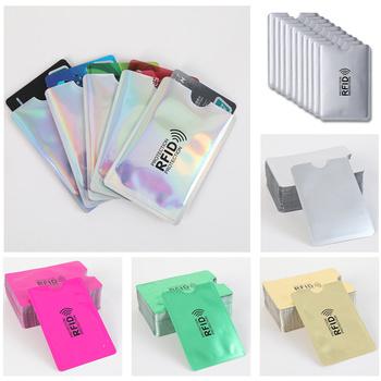 1 sztuk z zabezpieczeniem przeciw kradzieży dla RFID etui zabezpieczające na karty kredytowe blokowanie posiadacza karty rękaw skórzane etui obejmuje ochronę etui na karty bankowe New hot tanie i dobre opinie Dihope Metalowe Unisex CN (pochodzenie) List 6 2cm Smart Nie zamek Moda Poduszki Karta kredytowa Aluminum Foil 9 * 6 2 cm