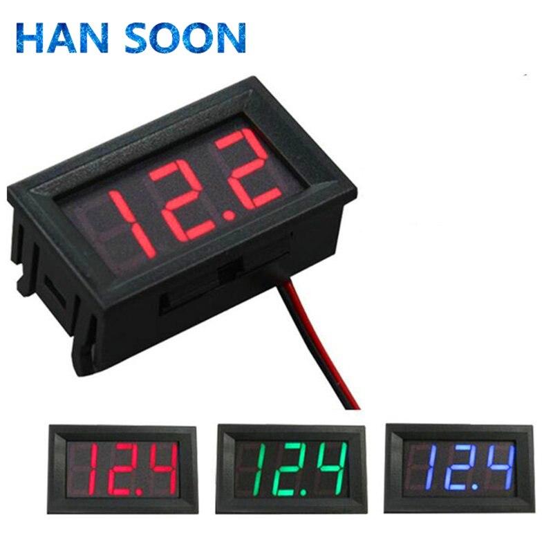 Цифровой вольтметр постоянного тока 4,5 В до 30 в цифровой вольтметр напряжение панель Измеритель красный/синий/зеленый для 6 в 12 В вольтметр Д...