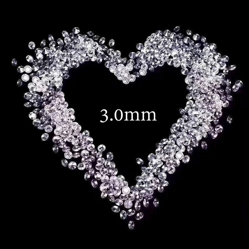 10 pcs 0.1ct 3mm DF Color Moissanite total 1 Carat Loose Stone Round Brilliant Cut VVS1 Excellent Cut Test Positive