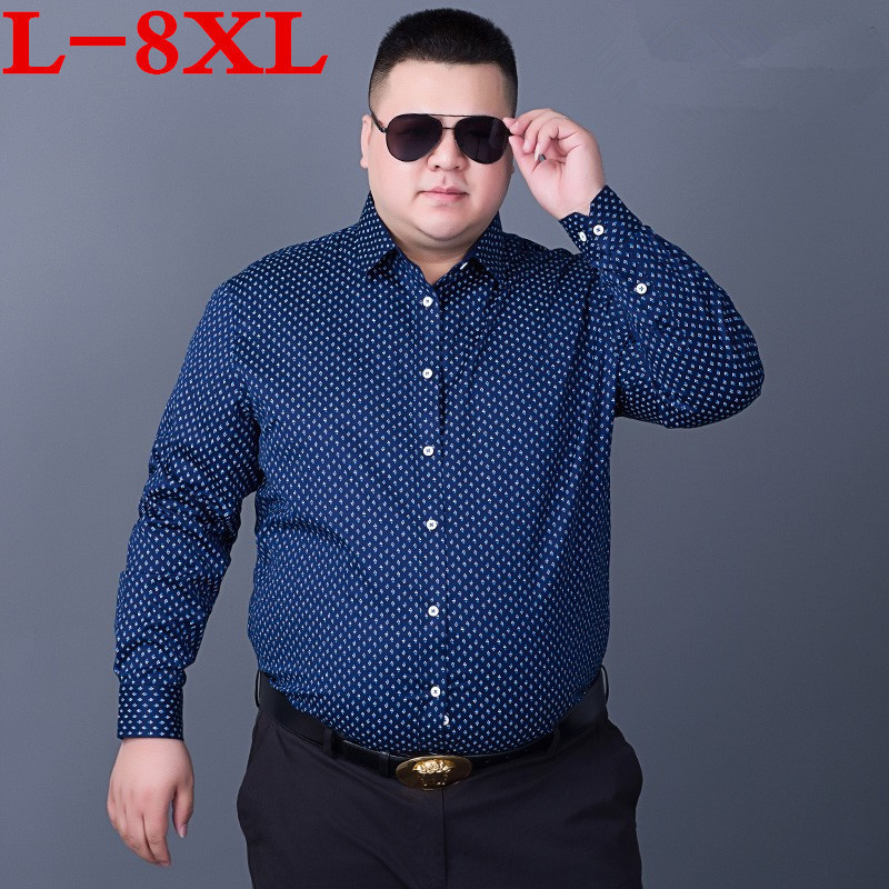 Plus Size 8XL 7XL  Men Dress Shirts Brand Clothing Fashion Camisa Social Casual Men Shirt Slim Fit Long-Sleeve Camisa Masculina