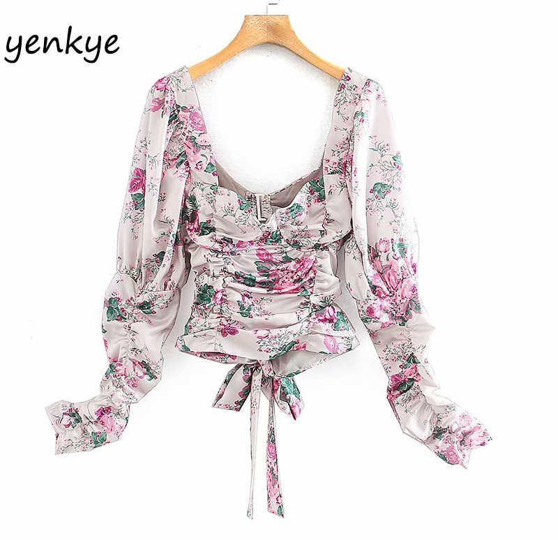 Women Floral Print Puff Sleeve T-Shirt V Neck Satin Shirt Causal Party Wrap Tops