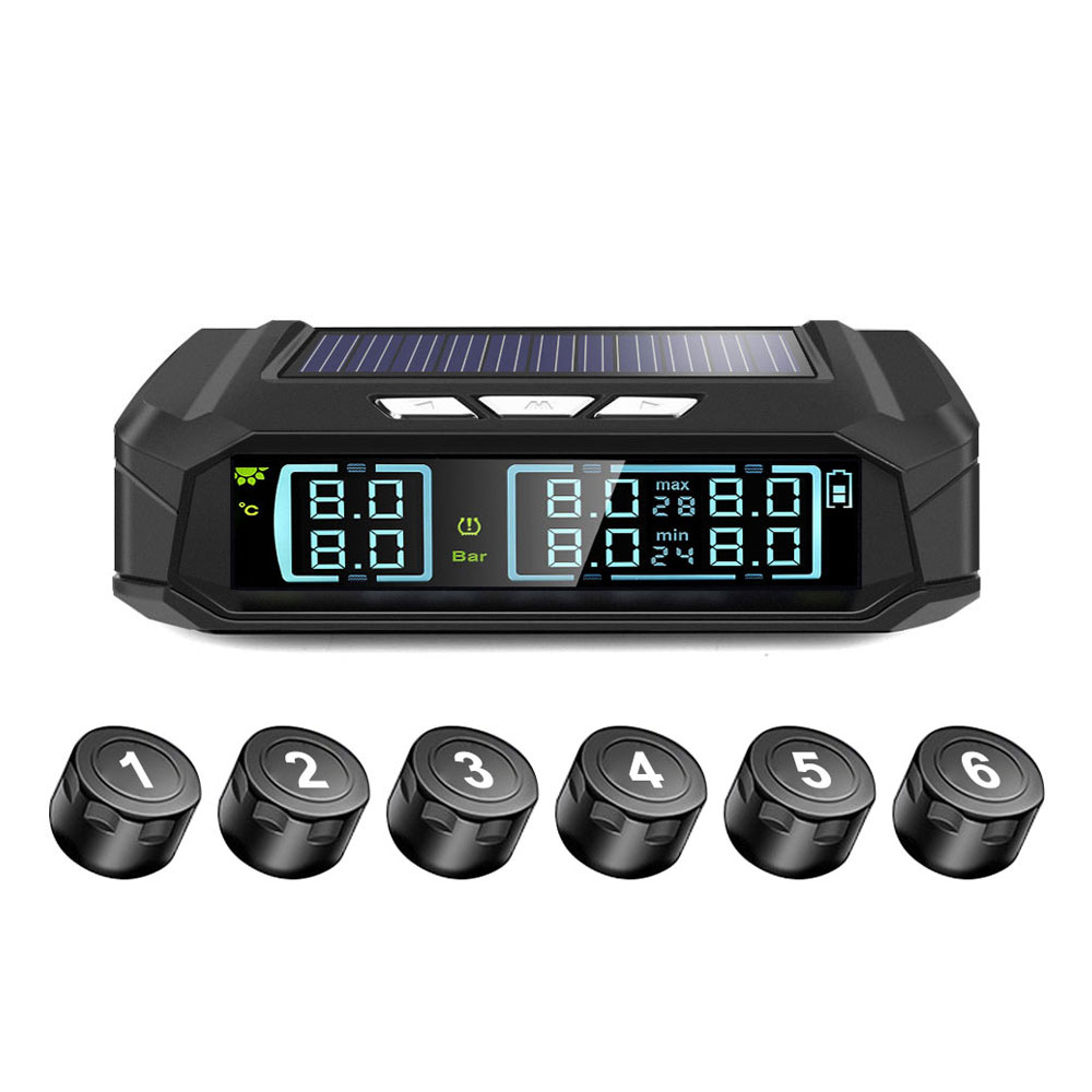 Tire Pressure Monitoring System 8 0bar 6PCS Sensor Tire Pressure Alarm Truck USB TPMS Windshield Vehicles Explosion Proof