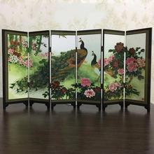 Wooden 6-Panel Peacock Screen Room Divider Folding Partition Gift Desktop Decor