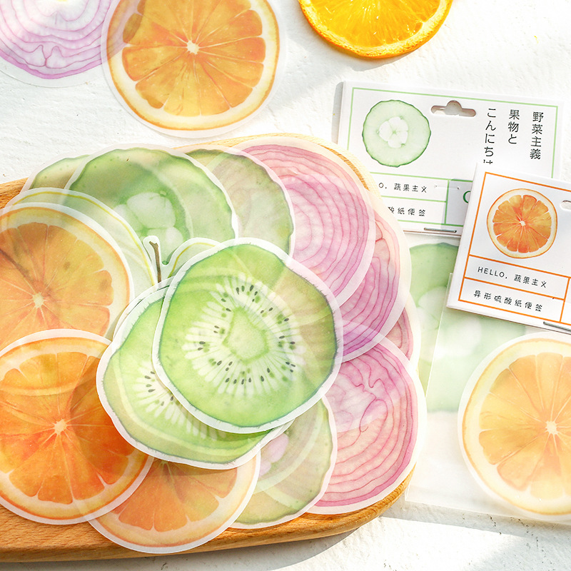 Mohamm 15 PCS Shaped Paper Hello Fruit And Vegetable Series Creative Notepad Memo Pad Note Memo Sheets Stationery Office Supplie
