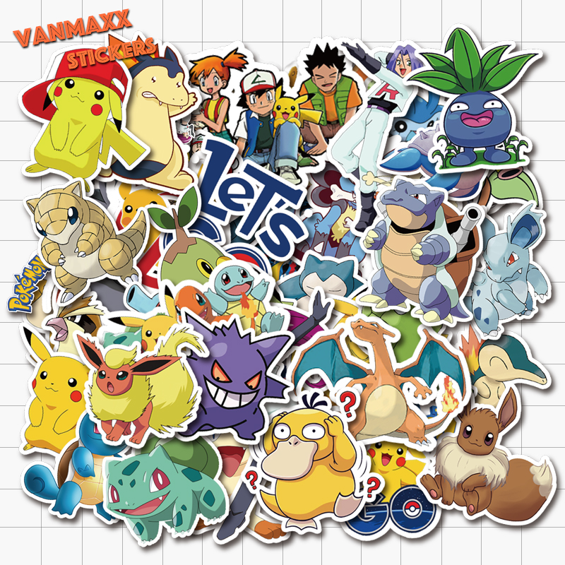 VANMAXX 50 PCS Pokemon Pikachu Cartoon Stickers Waterproof Vinyl Decal For Laptop Helmet Bicycle Luggage Guitar Car Stickers
