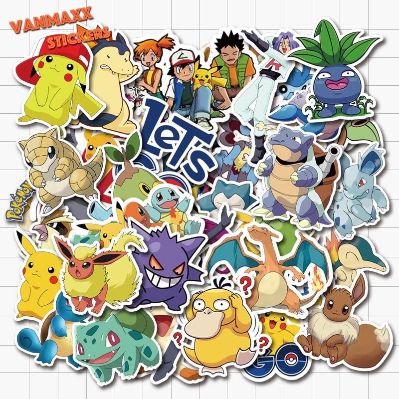 VANMAXX 50 PCS Pokemon Pikachu Cartoon Stickers Waterproof Vinyl Decal For Laptop Helmet Bicycle Luggage Guitar Car Stickers