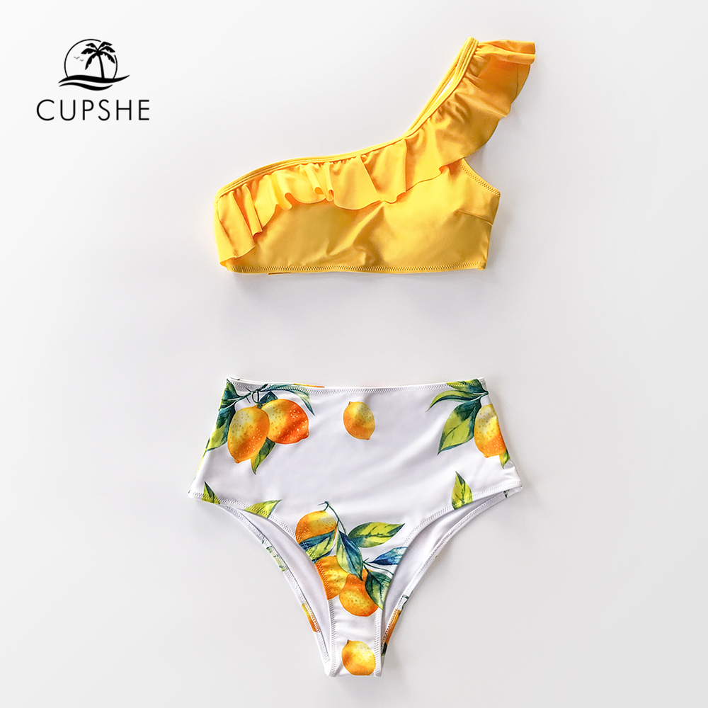 CUPSHE Yellow Lemon Print One Shoulder High-Waisted Bikini Sets Sexy Swimsuit Two Pieces Swimwear Women 2020 Beach Bathing Suits