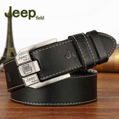 Men's Casual Genuine Leather Belt High Quality Retro Pin Buckle Belt For Jeans 3.80cm Width 110 115 120 125cm Black Coffee