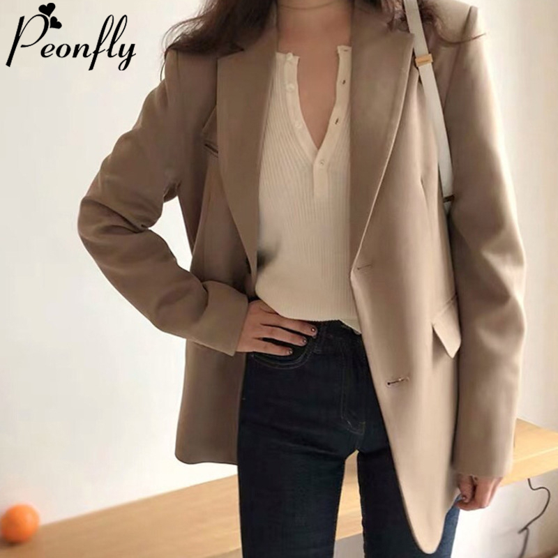 PEONFLY Casual Single Breasted Women Jackets Notched Collar Fashion 2020 Spring Women Blazer Jacket Female Elegant Ladies Coat