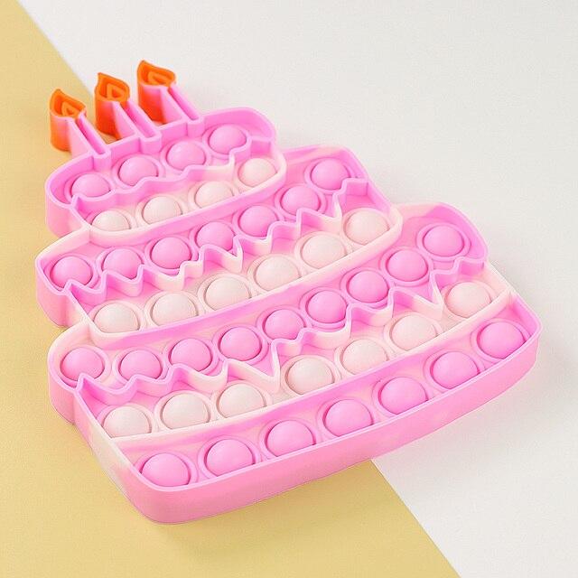 Happy Birthday Cake Food Fidget Toy Push Bubble Stress Sensory Toy 2