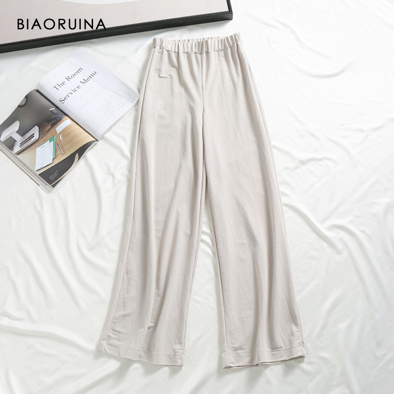 BIAORUINA Women's Casual Loose Comfortable   Pant   Female Elastic High Waist   Wide     Leg     Pant   Girls Fashion Solid All-match Trouser