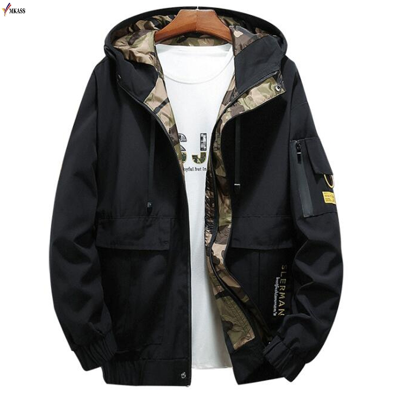Fashion Autumn Bomber Hooded Jacket Men Casual Slim Patchwork Windbreaker Jacket Male Outwear Zipper Thin Coat Brand Clothing
