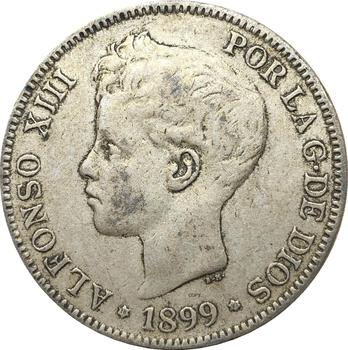 Moneda DE copia chapada en plata con letra, 5 Pesetas DE España,...