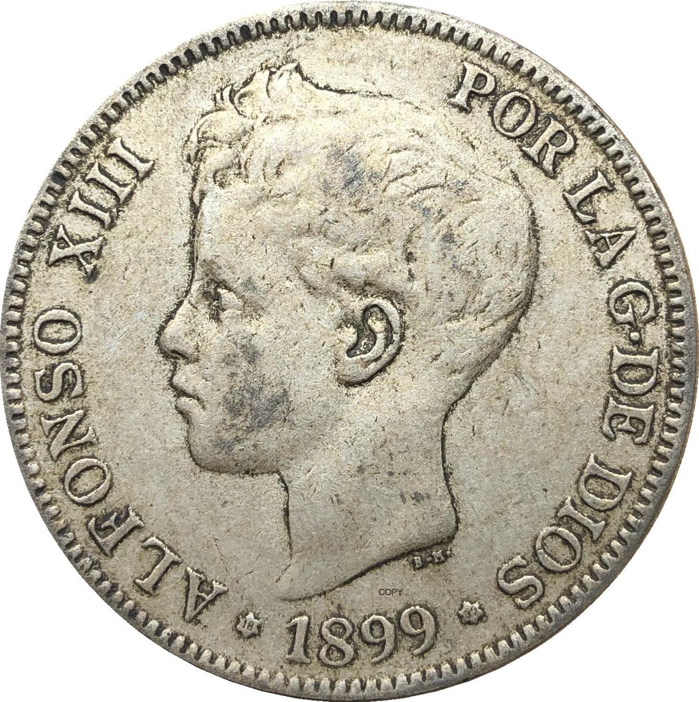 Испания 1899 5 песен Альфонсо 13-й портрет RE Y конкурс L DE ESPANA Cupronickel Посеребренная КОПИЯ монета с буквой Звездный край