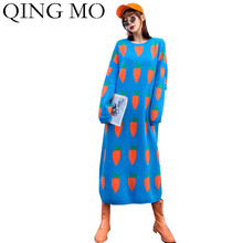 Sweater Dress Yellow Black Women Winter ZQY4584 QING Carrot-Pattern Autumen Blue