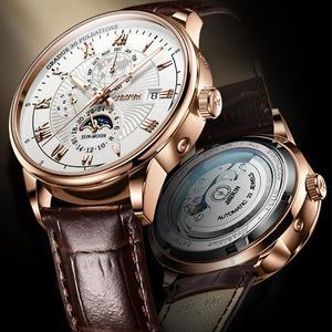 JSDUN Men Mechanical Watch Top Brand Luxury Automatic Watch Leather Waterproof Sports Moon Phase Wristwatch relogio masculino