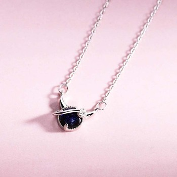 Genuine Real Pure Solid 925 Sterling Silver Pendant Necklaces Women Jewelry Blue Crystal Female Chain Necklace Choker 1