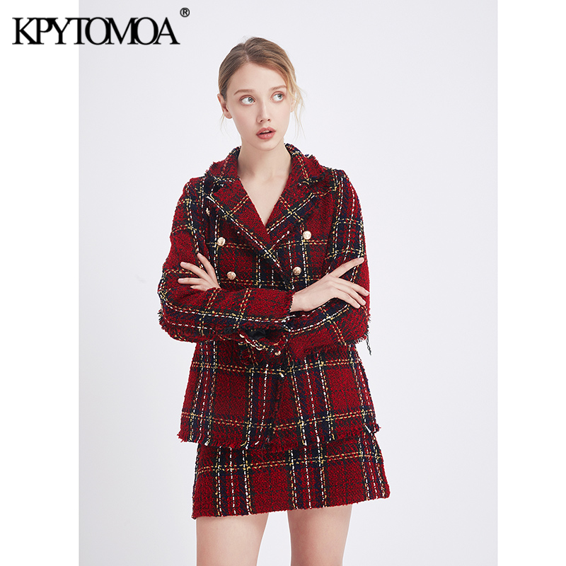 Vintage Stylish Double Breasted Plaid Faryed Tweed Blazer Jacket & Skirt 2020 Fashion Office Wear Women Suits Female Sets