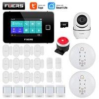 FUERS WiFi GSM Alexa Tuya Smart Home Security Alarm System Kits 433MHz Steuerung Fingerprint Sirene IP Kamera IPR Bewegung tür Rauch