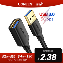 Ugreen usb cabo de extensão usb 3.0 cabo para smart tv ps4 xbox um ssd usb3.0 2.0 para extender cabo de dados mini cabo de extensão usb