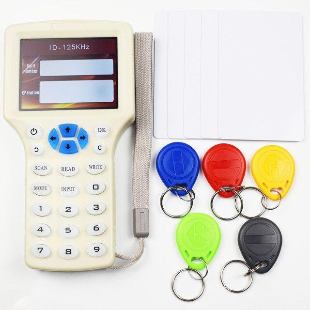 10 anglais fréquence RFID copieur duplicateur 125KHz porte clés NFC lecteur écrivain 13.56MHz crypté programmeur USB UID copie carte étiquette