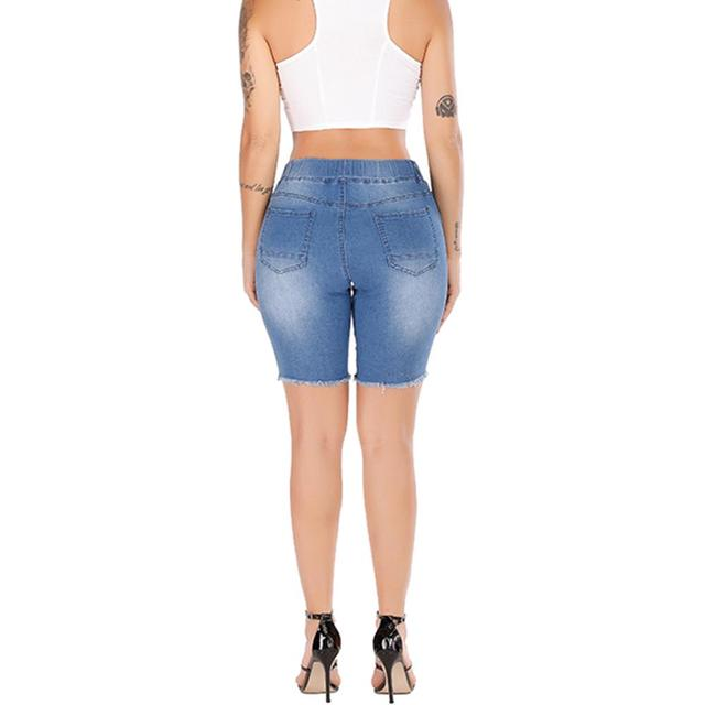 Summer Denim Ripped Bermuda Shorts Women Blue Drawstring Closure Distressed Knee Length Stretch Short Jeans 5