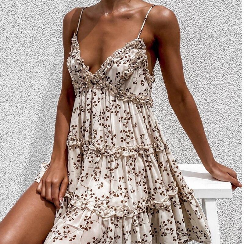 Boho sommer Floral print rüschen Spaghetti a-line kleid Frauen sexy Rüschen v-ausschnitt mini kleid ferien Bademode kleider vestidos